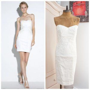 🆕Nicole Miller Strapless Embroidered Mini Dress